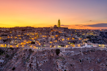 View of the beautiful old town of Matera in southern Italy after sunset