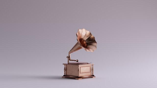 Bronze Vintage Gramophone 3 Quarter Right View 3d illustration 3d render