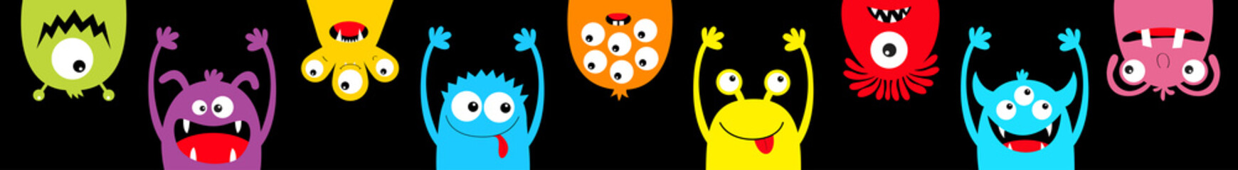 Happy Halloween. Hanging monster colorful silhouette head face icon set line. Eyes, tongue, tooth fang, hands up. Cute cartoon kawaii scary funny baby character. Black background. Flat design.