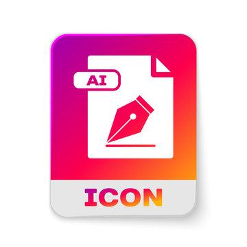White AI file document. Download ai button icon isolated on white background. AI file symbol. Rectangle color button. Vector Illustration
