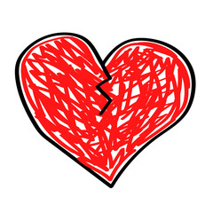 Broken red heart on a white background. Vector illustration.