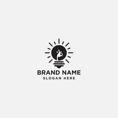 dog bulb logo design - vector