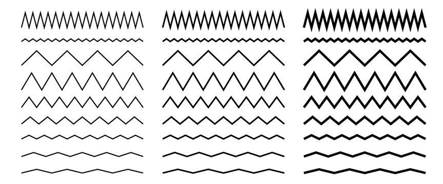 Set of seamless wavy, zigzag line. Graphic design elements for page decoration. Outline sign border element kit.