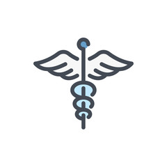 Сaduceus color line icon. Medical symbol with wings vector outline colorful sign.