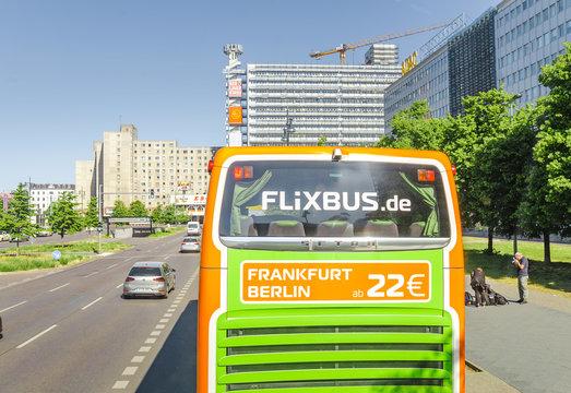 BERLIN, GERMANY, 20 MAY 2018: Flixbus intercity bus at the city street