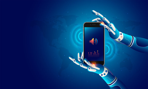 Futuristic concept for artificial intelligence and virtual world. Robotic hands holding a mobile which displays speaker and volume icons.