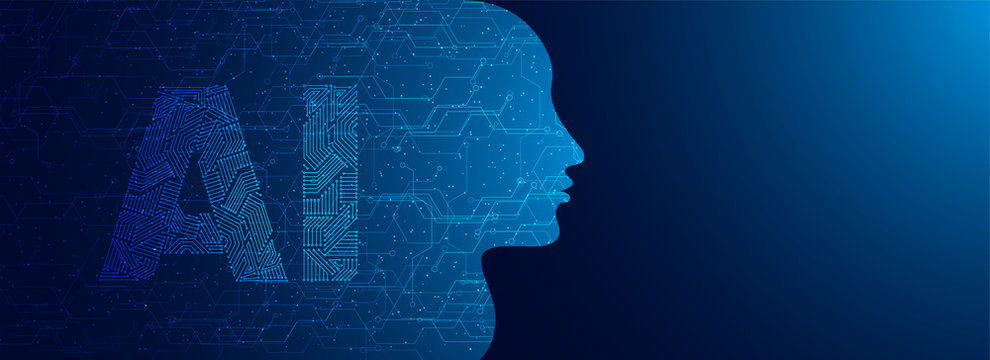 Future of Artificial Intelligence (AI), Human face with AI text made by digital circuit on blue background for web banner design.
