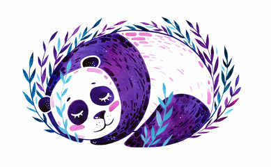 Watercolor violet panda on a white background. The animal is depicted sleeping in violet and turquoise bushes.