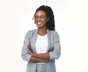 Positive Black Business Lady Posing Crossing Hands Over White Background