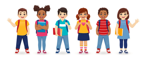 Smiling school children boys and girls with backpacks and books set isolated vector illustration. Multiethnic cute kids. Papier Peint