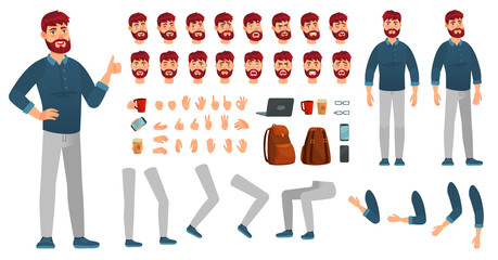 Cartoon male character kit. Man in casual clothing, different hands, legs poses and facial emotion. Characters constructor vector set - fototapety na wymiar