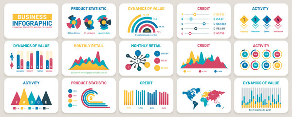 Business presentation charts. Finance reports, marketing data graphs and infographic template vector set