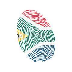 Fingerprint vector colored with the national flag of South Africa