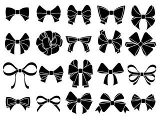 Decorative bow silhouette. Gift wrapping favor ribbon, black jubilee bows stencil vector icons set