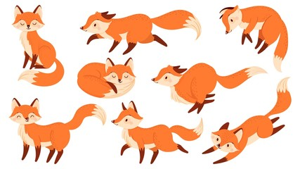 Cartoon red fox. Funny foxes with black paws, cute jumping animal vector illustration set