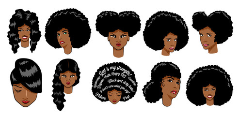 black women vector set clipart design