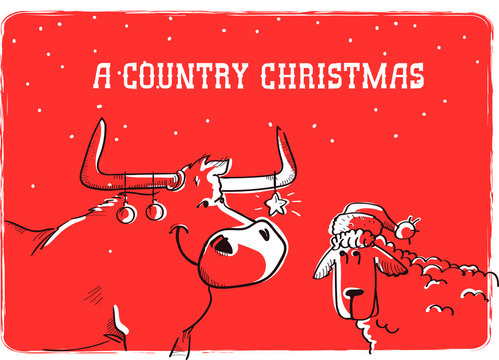 Merry Country Christmas card with bull and sheep in Santa hat. Christmas text on snow background illustration