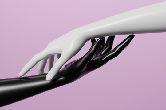 Black and white mannequin hand on pink background. 3D render image.