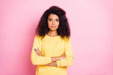 Portrait of serious focused african girl have work issues with her colleagues true entrepreneur wear yellow sweater isolated over pink color background Wall mural