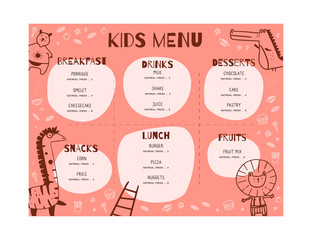 Kids Menu Doodle illustration with animals. Simple Food Vector background. Brochure layout template design.