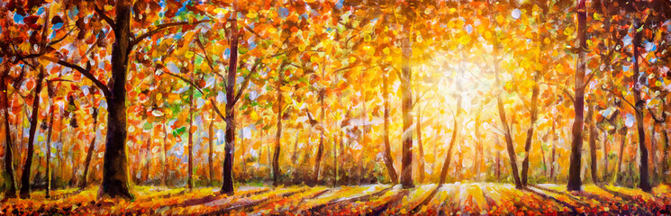 Poster Orange Gold autumn panorama impressionism oil painting. Gorgeous autumn landscape panorama of scenic forest with warm sunshine artwork