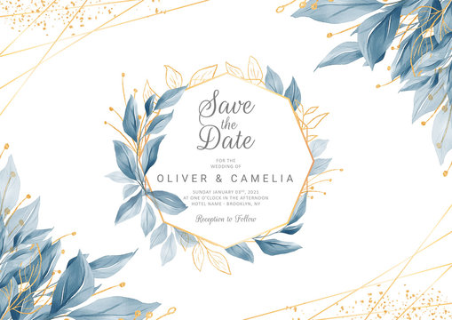 Modern navy blue wedding invitation card template with watercolor floral frame and border. Greenery floral border save the date, invitation, greeting card vector