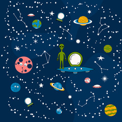 Pattern with cartoon planets, spaceships and zodiac signs. Cute baby background with funny aliens, ufo in the star galaxy sky with constellations. Universe wallpaper for kids.