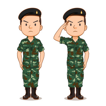 Cartoon character of Thai soldier.