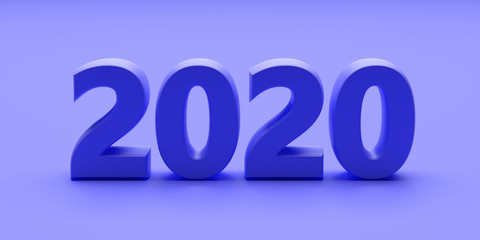 2020 new year on blue color background. 3d illustration