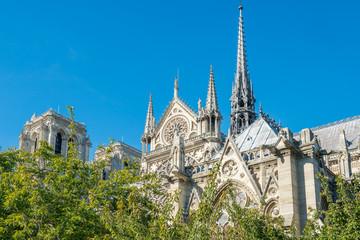 Notre Dame de Paris - famous cathedral with blue sky before fire April 15, 2019. Paris, France