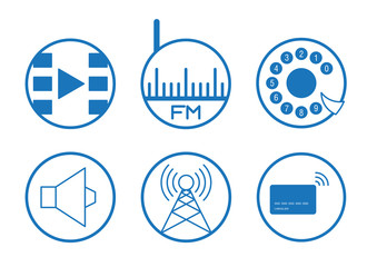 Icons of video, radio, phone, music, internet, payment card in white