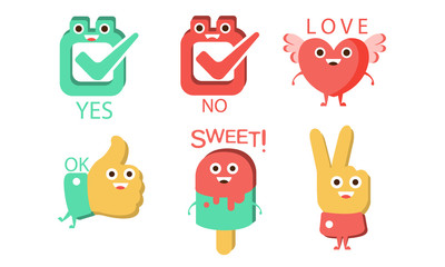 Fototapete - Words and Cute Cartoon Characters with Funny Faces, Yes, No, Love, Ok, Sweet, Victory Sign Vector Illustration