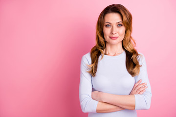 Portrait of serious focused woman look feel cool true executive ready to solve work questions wear white jumper good looking outfit isolated over pink color background