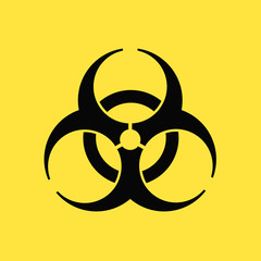 バイオハザード・危険・感染症・生物兵器イメージ素材:有害生物の危険警告・シンプルなバイオハザードマーク〔黄色背景)