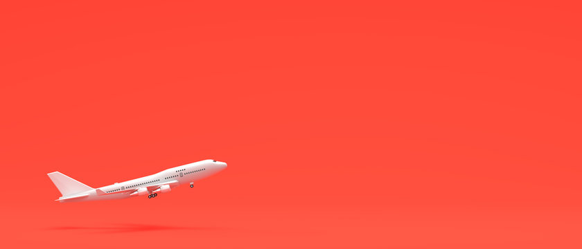 White airplane isolated on coral pink background. 3D illustration.