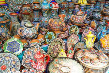 Colorful plates and pots at Chorsu bazaar, Tashkent, Uzbekistan