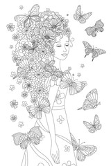Fototapete - fancy floral girl with butterflies for your coloring book