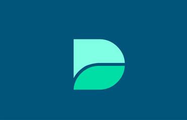 Fototapeta D in blue green color letter logo alphabet for icon design obraz