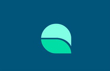 Q in blue green color letter logo alphabet for icon design