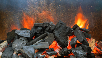 Hot coals in the preparing for grilling Wall mural