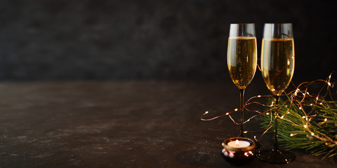 Champagne on old dark stone plate
