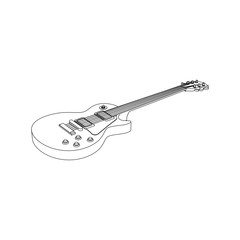 Single cut guitar line art images isolated
