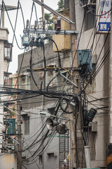 Electric cables in a street of Taipei, Taiwan