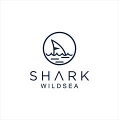 Shark fin logo wild ocean sea animal abstract vector