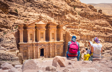 Giant temple of Monastery at the ancient Bedouin city of Petra, Jordan