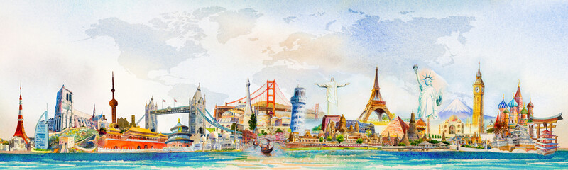 Wall Mural - World travel and sights. Famous landmarks of the world.