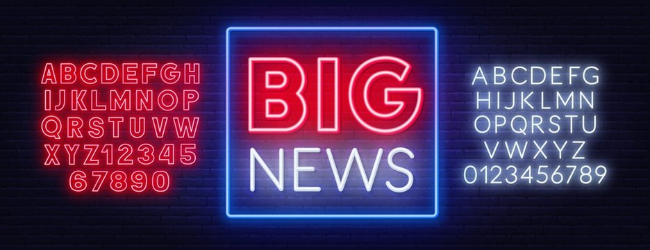 Big news neon sign on a dark background. Template for design with fonts.