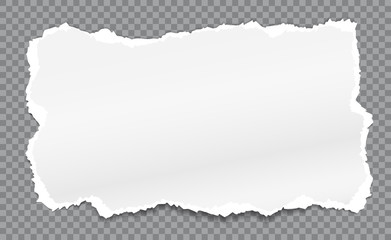 Piece of torn, white realistic paper with soft shadow is on squared grey background. Vector illustration