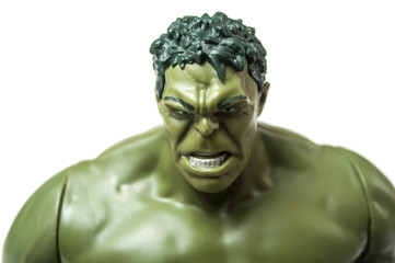 Mulhouse - France - 3 October 2019 - Closeup of Hulk character toy  of famous movie and series on white background