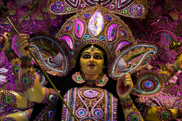 A idol of goddess Durga in the Durga puja festival